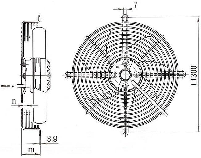 Габаритный эскиз вентилятора